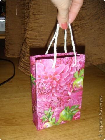Подарочный пакетик из бумаги и салфетки