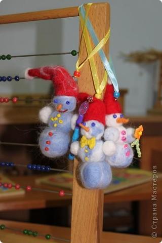 """В прошлую субботу я проводила мастер класс для родителей и коллег. Все были в восторге от сережек """"Снеговички"""" и решили что на этом МК будут делать именно снеговиков.  фото 4"""