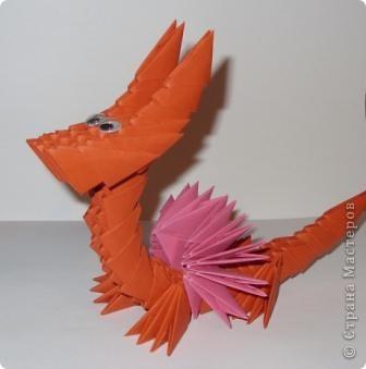 Мастер-класс Новый год Оригами китайское модульное Дракончик маленький Бумага фото 8