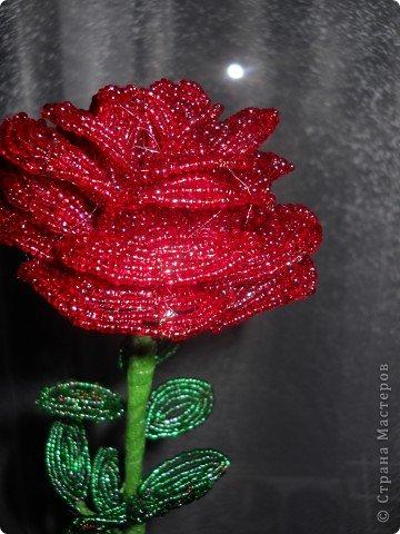 Роза метровая из бисера фото 3
