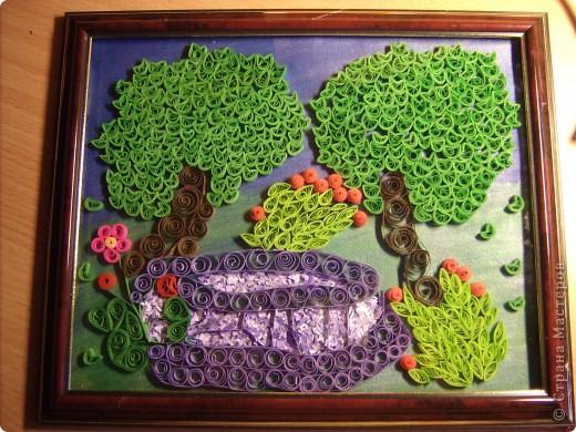 Картина панно рисунок Квиллинг По синему парку гуляют деревья и тени   Бумажные полосы фото 1