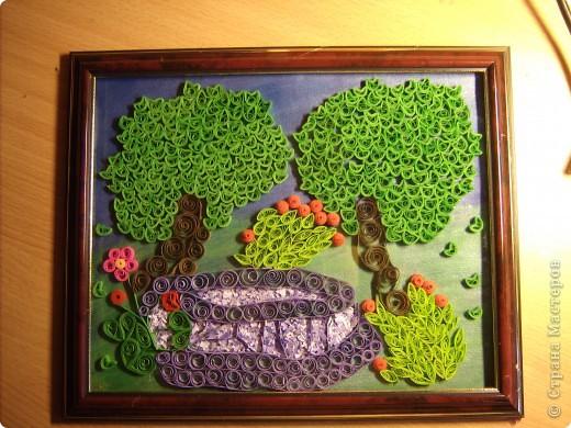 Картина панно рисунок Квиллинг По синему парку гуляют деревья и тени   Бумажные полосы фото 5