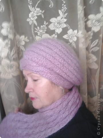 берет и шарф из мохера фото 1
