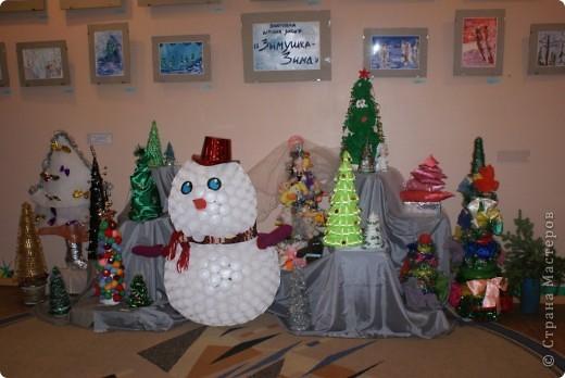 Вот такие елочки родились у нас в детском саду и с ними снеговик.