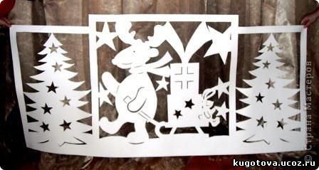 """Вот такое оформление мы сделали для столовой, где проходили новогодние представления. Техника """"киригами"""" пригодилась и здесь. фото 2"""