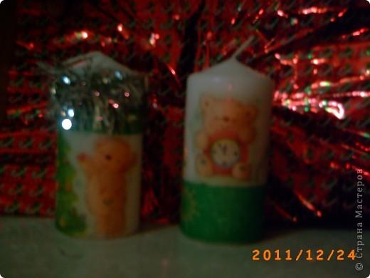 Первая проба в декупаже свечи. фото 1