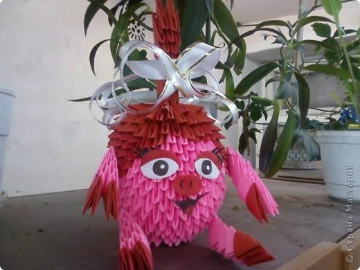 Модульное оригами - Смешарик Нюша.