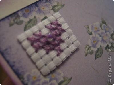 Решила вспомнить мое детское увлечение - вышивкой и родились такие сиреневые валентинки. скрапбумага, бумаг для пастели, бисер, бусины, нитки мулине, канва, два вида штемпельных карандашей. вышивка мулине и бисером.  №1   №2    №3 фото 6