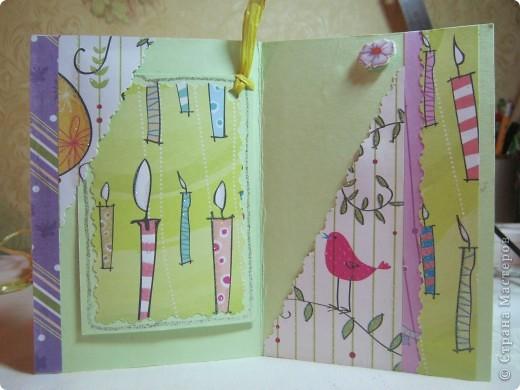 Общий вид открытки с поздравительным тэгом. Все делала из скрап-бумаги и материалов. Открытка делалась для юной особы. фото 2