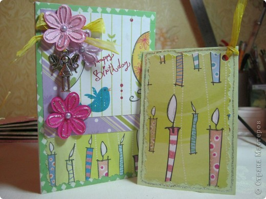 Общий вид открытки с поздравительным тэгом. Все делала из скрап-бумаги и материалов. Открытка делалась для юной особы. фото 1