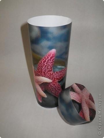Поделка изделие Презент от Голубки Упаковка Вязание крючком Косметичка-тубус Морские звезды Бисер Бумага Клей Нитки.