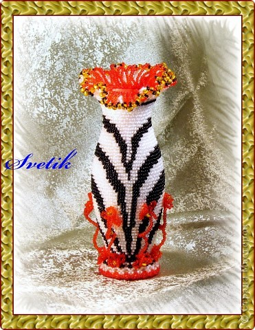 Декор предметов Бисероплетение Ваза Бисер. .  Старая, стеклянная ваза превратилась в вполне приличную...