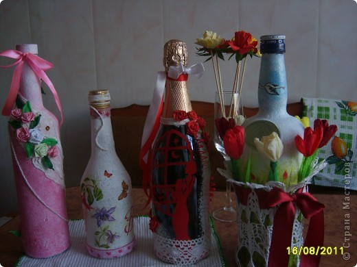 Украшаем бутылочки фото 1
