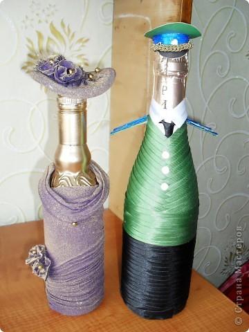 Гуляя по сайту, наткнулась на разные декорированные бутылочки и решила попробовать сделать похожие фото 1