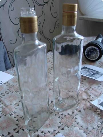 Декор предметов Декупаж Роспись Черно-белый декор бутылочек + маленький МК Бумага Бутылки стеклянные Краска Материал бросовый фото 2