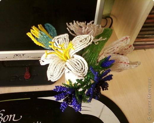 Поделка изделие Бисероплетение Цветы из бисера Бисер фото 2.