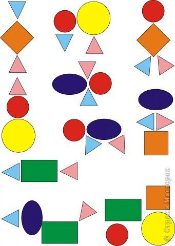 Девочки всем привет! Доча  любит вырезать, я нашла на просторах интернета составление разных форм из геометрических фигур,а это вдвойне интересней!Распечатала листочки формата А4 и доча по своему желанию выбирает, что будем вырезать! Потом вырезав, мы мозайкой опять составляем эту фигуру и приклеиваем!!!