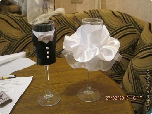 Свадебное бокалы своими руками мастер класс с фото