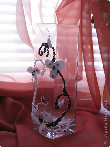 Декор предметов 8 марта Аппликация Мини вазочка Бисер Пластика Стекло фото 5.