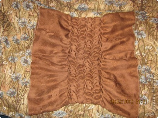 Мастер-класс Шитьё Круглая подушка с буфами МК Ткань фото 18
