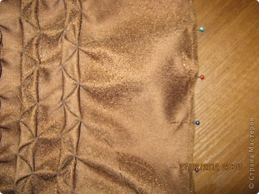 Мастер-класс Шитьё Круглая подушка с буфами МК Ткань фото 24.