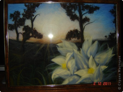 "Картина из шерсти ""Сибирские подснежники"""