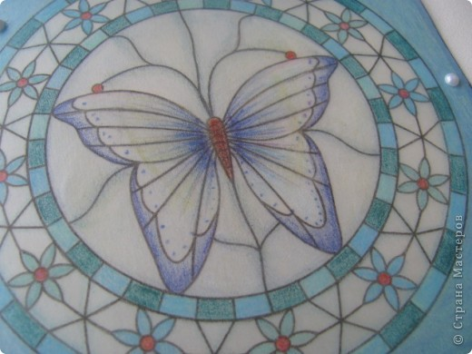 Бабочка. открытка.\пергамано. а-ля витраж\ фото 2