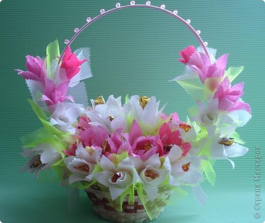 Корзины с цветами из конфет своими руками мастер класс фото