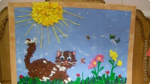 котик на солнышке,котик-отрывная апликация,остальное-комочки из салфеток( 2,5-3 года)Работа не одного дня,большое спасибо за идею Kvantik фото 1