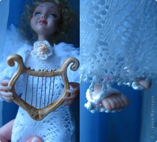 Появилась у меня такая девочка-ангелочек=) Сделана из запекаемого пластика на каркасе.  Около 24 см.. фото 5