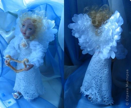 Появилась у меня такая девочка-ангелочек=) Сделана из запекаемого пластика на каркасе.  Около 24 см.. фото 6