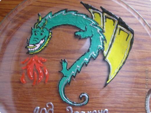 Роспись тарелки Дракон фото 2
