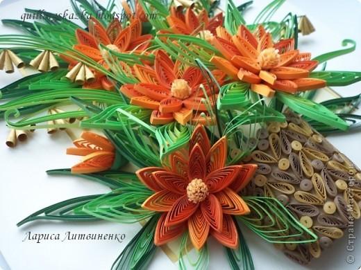 С Весною ВСЕХ!!!!    Вот и я  простилась с холодной зимой - теперь только поняла, почему так долго не могла закончить эту композицию - зима никак не принимала мои оранжевые цветы!!! Начала я крутить  цветы ещё в декабре !!!!!! Никак не собиралась композиция - хотелось  добавить мелких цветочков, да и рамочки подходящей не было!!!))) Ну вот пришла весна - все элементы накручены и композиция собрана!!! Ура-ура!!! фото 2