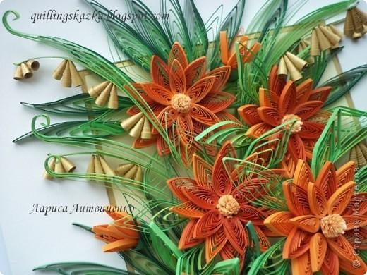 С Весною ВСЕХ!!!!    Вот и я  простилась с холодной зимой - теперь только поняла, почему так долго не могла закончить эту композицию - зима никак не принимала мои оранжевые цветы!!! Начала я крутить  цветы ещё в декабре !!!!!! Никак не собиралась композиция - хотелось  добавить мелких цветочков, да и рамочки подходящей не было!!!))) Ну вот пришла весна - все элементы накручены и композиция собрана!!! Ура-ура!!! фото 3