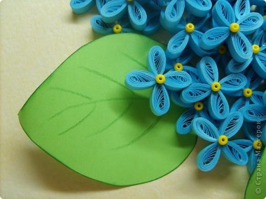 Очень захотелось сделать сирень. Крутила 4 дня. В результате получилось около 130 цветочков. Листья - обычная офисная бумага, края затонировала подушечкой для штампов, прожилки нарисовала зеленым карандашом. Размер работы - А3. фото 3