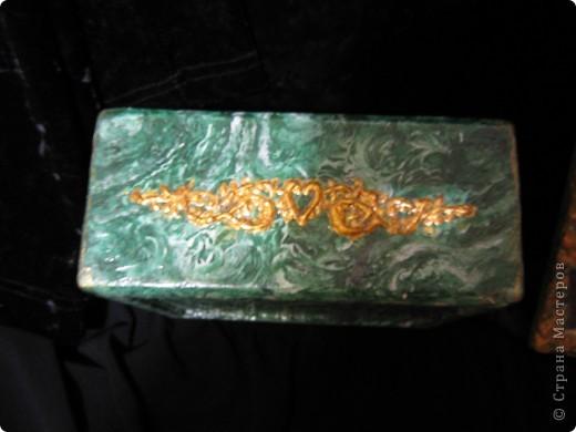Шкатулка с иммитацией малахита фото 2