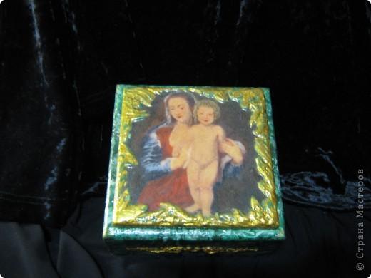 Шкатулка с иммитацией малахита фото 3