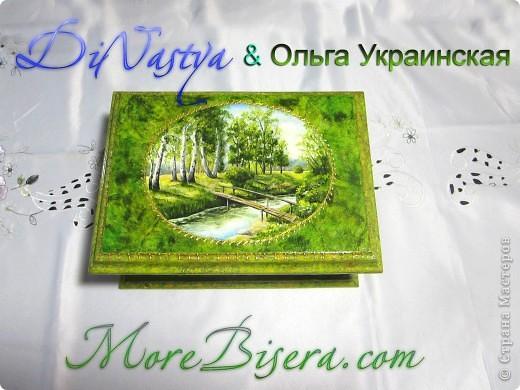 Шкатулка из дерева с росписью маслом, с отделкой из бисера от DiNastya