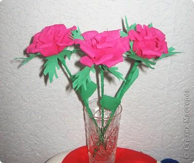 Своими руками можно сделать удивительный подарок бабушкам, знакомым и родным. Один из них – это розы из гофрированной бумаги. Для работы нам понадобилась зеленая бумага и малиновая. Для изготовления розы отрежьте полосу по тянущейся стороне рулона, шириной 6 см. Длина зависит от количества лепестков у розы (примерно 12-14). фото 14