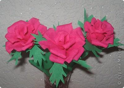 Своими руками можно сделать удивительный подарок бабушкам, знакомым и родным. Один из них – это розы из гофрированной бумаги. Для работы нам понадобилась зеленая бумага и малиновая. Для изготовления розы отрежьте полосу по тянущейся стороне рулона, шириной 6 см. Длина зависит от количества лепестков у розы (примерно 12-14). фото 15