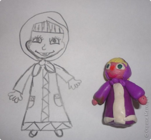 Вот такую Машу слепила на днях Вероника, а вдогонку решила еще и нарисовать фото 1