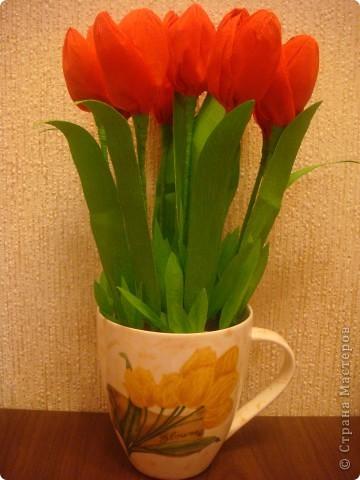 """Продолжаю свои попытки в свит-дизайне. Сделала подарочек хорошему человечку - моей помощнице на работе, няне. """"Вырастила"""" тюльпаны в чашке к празднику! :-) фото 1"""