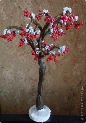 Грозди: На медной проволоке делала гроздь из 12-14 красных бисерин, каждая бисерина на своей ножке, а ножки по 5-7 мм без расстояния между друг другом. Потом на серебристой проволоек делала снег: петли тоже скручены вплотную к друг другу на 2-3 оборота. 6-8 петель по 8-9 бисерин в каждой. Потом снегом накрывала гроздь и вместе скручивала концы проволоки Расправляла снежок на ягодках. И все...  Дерево состоит из гроздей без листьев. Если это ваше непервое дерево. то остальное все понятно, формируете веточки на свое усмотрение.