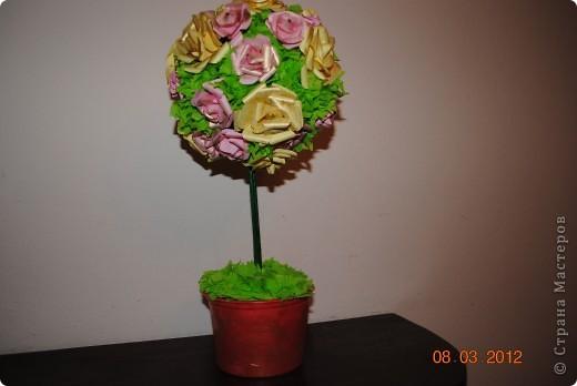 Мое дерево счастья с розами из бумаги фото 1