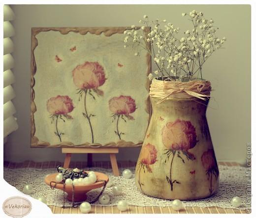 Состаренный наборчик уже уехал в Головку! Банка из под кофе преобразовалась в вазу для цветов!
