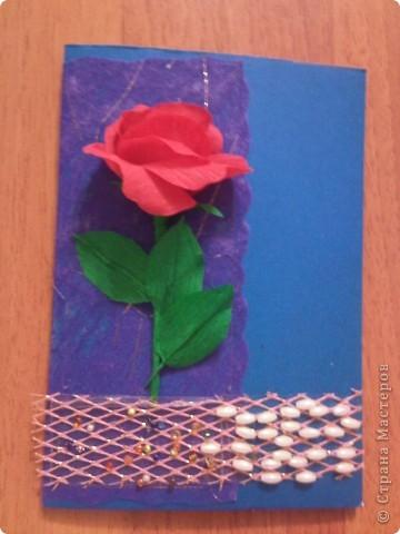 Эту открытку мы сделали с Кариной (5 лет) Решили порадовать маму букетом ромашек из ватных дисков. фото 3