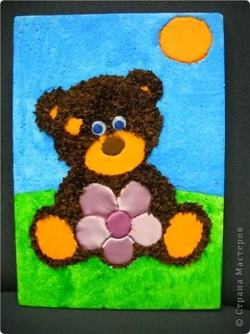 Основное условие было формат А4 и медведь. Получилась вот такая картинка