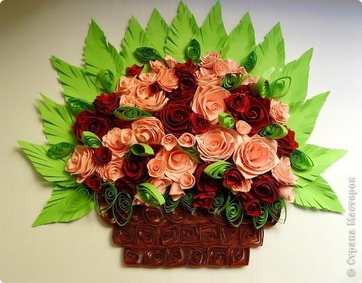 Букет роз в корзинке фото 1