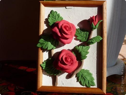 Слепила эти розы давно, но собрать их в картину оказалось проблемно. Не судите строго ведь это первый опыт))) фото 6