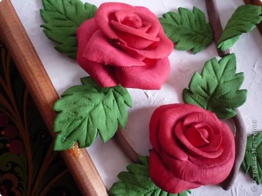 Слепила эти розы давно, но собрать их в картину оказалось проблемно. Не судите строго ведь это первый опыт))) фото 2